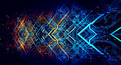 Abstract technological background made of different element printed circuit board and flares. Depth of field effect and bokeh.3d Rendering