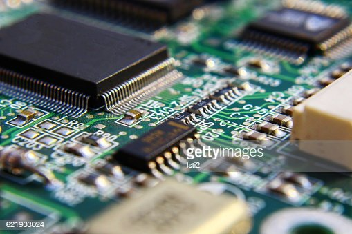 Printed Circuit Components. : Stock Photo