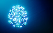 Printed circuits brain. Concept of artificial intelligence, deep learning, machine learning, smart autonomous robotic technology on blue background. Suitable for text messsage. 3d rendering