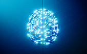 Printed circuits brain. Concept of artificial intelligence, deep learning, machine learning, smart autonomous robotic technology on blue background. 3d rendering