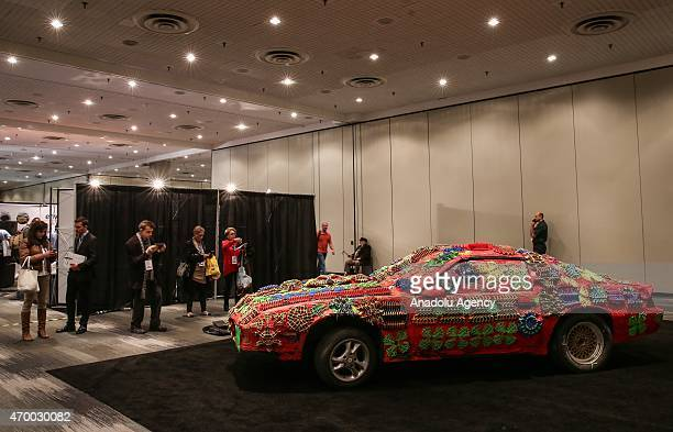 A 3D printed coating on a car is displayed during the 3D Prints Design Show at Javits Center in New York on April 16 2015 The 3D Print Design Show...