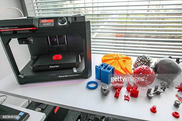 3D printed examples standing in front of 3D printer are seen in Pomeranian Science and Technology Park on 27 January 2017 in Gdynia Poland During the...