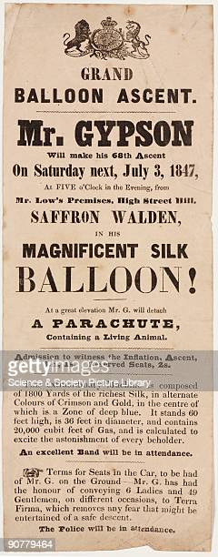 A printed handbill advertising Richard Gypson�s 68th balloon ascent from Saffron Walden Essex on Saturday 3 July 1847 On this ascent Gypson released...