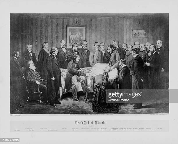 Printed lithograph of the death bed of President Abraham Lincoln Farwell McCulloch Welles Farnsworth Vice President Johnson Judge Otto Speaker Colfax...