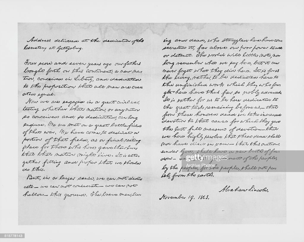 abraham lincoln s gettysburg address pictures getty images printed lithograph of the written speech of abraham lincoln at the gettysburg address 19th