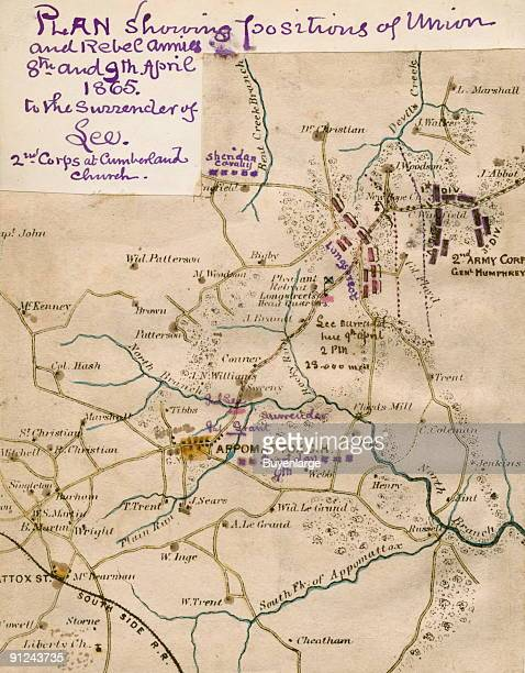 Printed map has annotations by Sneden showing the locations of troops surrounding Appomattox Courthouse April 9th 1865 Union forces identified...