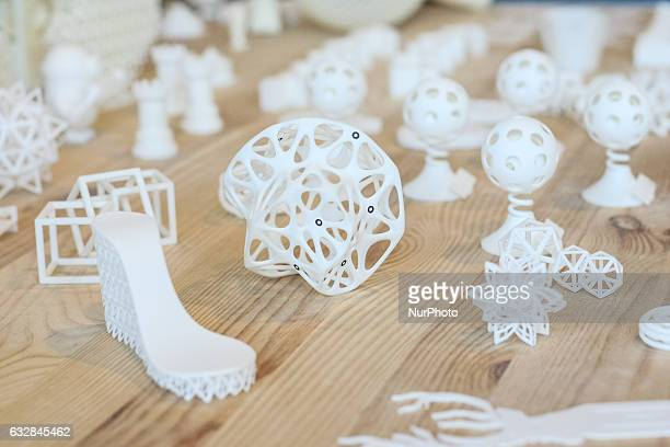 3D printed models are seen in Pomeranian Science and Technology Park on 27 January 2017 in Gdynia Poland During the conference industry professionals...