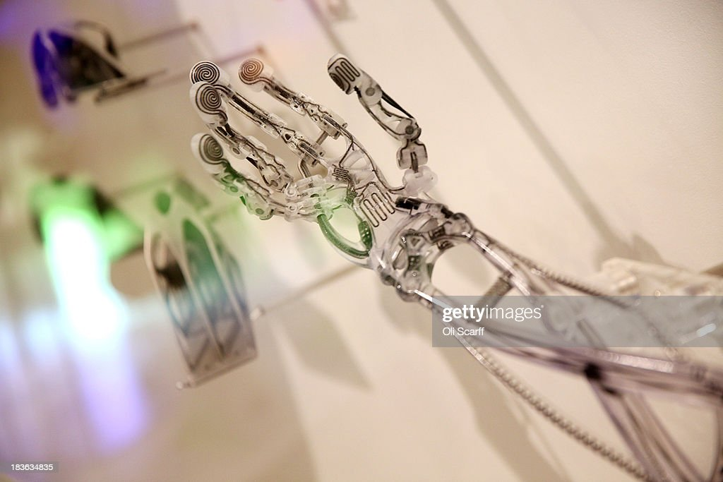A 3D printed prosthetic arm is displayed in the exhibition '3D printing the future' in the Science Museum on October 8 2013 in London England The...