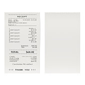 Printed receipts, bills. 3D rendering isolated on white background