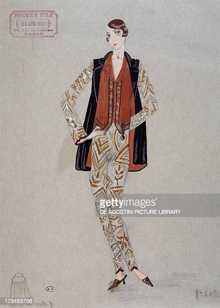 Printed shirt pants and waistcoat model by Becker FilsParis watercolour France Paris Bibliothèque Des Arts Decoratifs