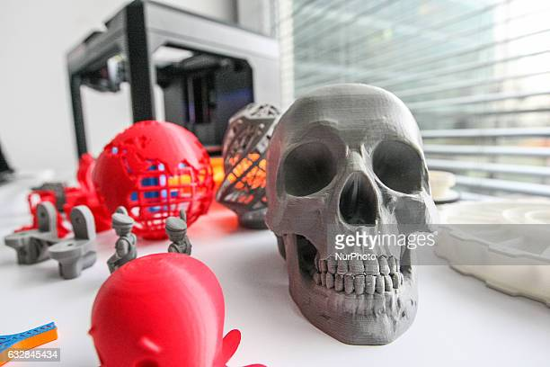 3D printed skull and toys standing in front of 3D printer are seen in Pomeranian Science and Technology Park on 27 January 2017 in Gdynia Poland...