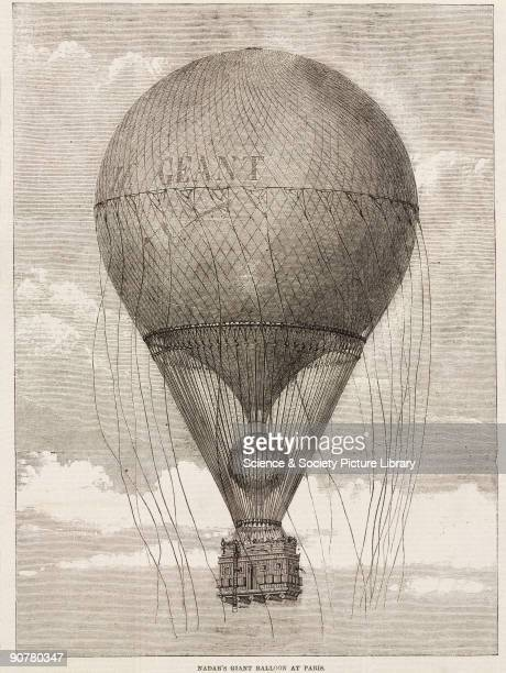 Printed woodcut from The Illustrated London News This giant balloon was built by Godard for the French photographer and aeronaut Felix Tournachon...