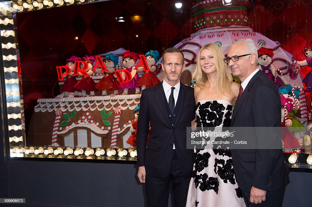 Printemps' CEO Paolo de Cesare, Gwyneth Paltrow and Prada fashion house communication director Stefano Cantino launch the Printemps Christmas Decorations Inauguration at Printemps Haussmann, in Paris.