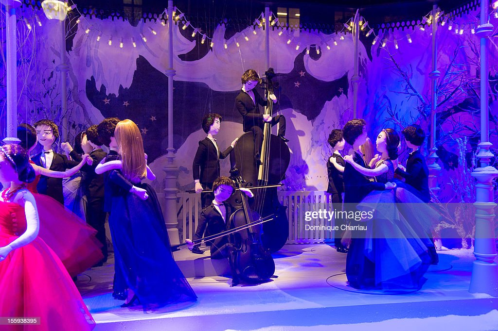 Printemps Christmas decorated window is pictured during the inauguration at at Printemps Haussmann on November 9, 2012 in Paris, France.