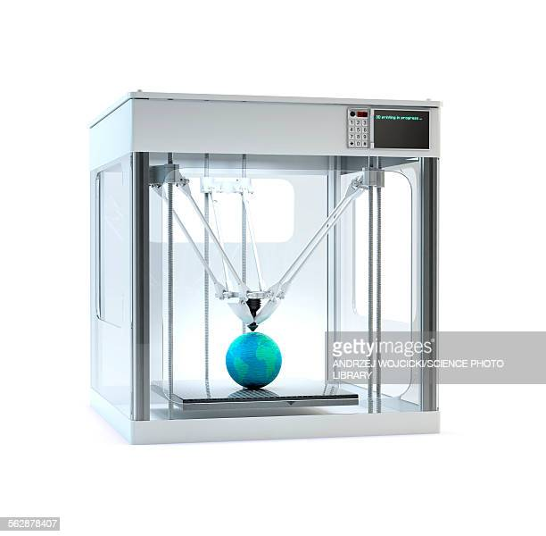 3D printer printing globe, illustration
