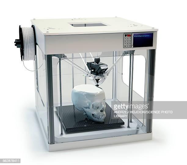 3D printer printing skull, illustration
