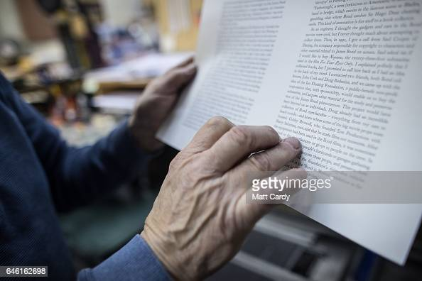 Printer Stan Lane checks a page of copy at Gloucester Typesetting Services in Stonehouse on February 27 2017 in Gloucestershire England Stan Lane who...