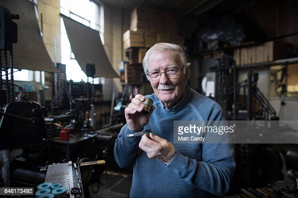 Printer Stan Lane checks the lettering produced by a composition caster at Gloucester Typesetting Services in Stonehouse on February 27 2017 in...