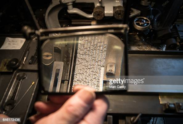 Printer Stan Lane prepares a composition caster as he works on a limited edition letterpress version of a special Ian Fleming Issue of The Book...