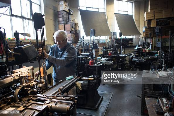 Printer Stan Lane prepares a composition caster at Gloucester Typesetting Services in Stonehouse on February 27 2017 in Gloucestershire England Stan...