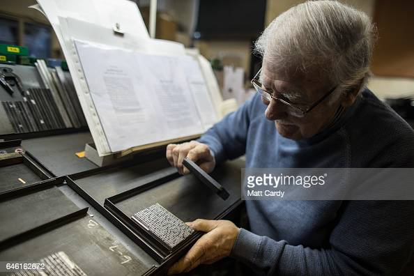 Printer Stan Lane prepares a page of text for proofing on a letterpress at Gloucester Typesetting Services in Stonehouse on February 27 2017 in...