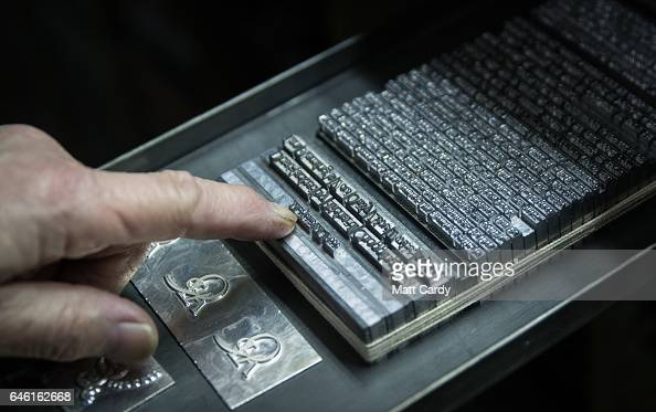 Printer Stan Lane prepares a page of text for the proofing on a letterpress at Gloucester Typesetting Services in Stonehouse on February 27 2017 in...