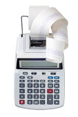 Printing calculator with a lot of paper coming out