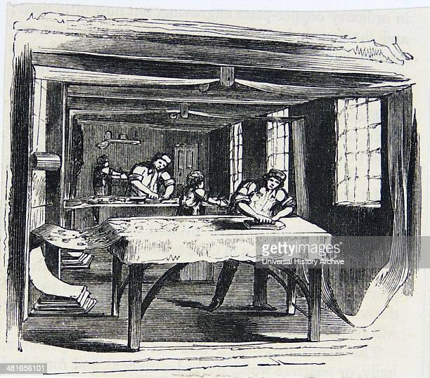 Printing Calico using hand blocks Engraving London 1860