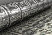 Printing US dollar banknotes (100 dollar bill sheet).
