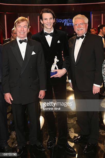Prinz Leopold von Bayern Sabin Tambrea and Martin Zeil attend the Bavarian Movie Awards 2013 after party on January 18 2013 in Munich Germany