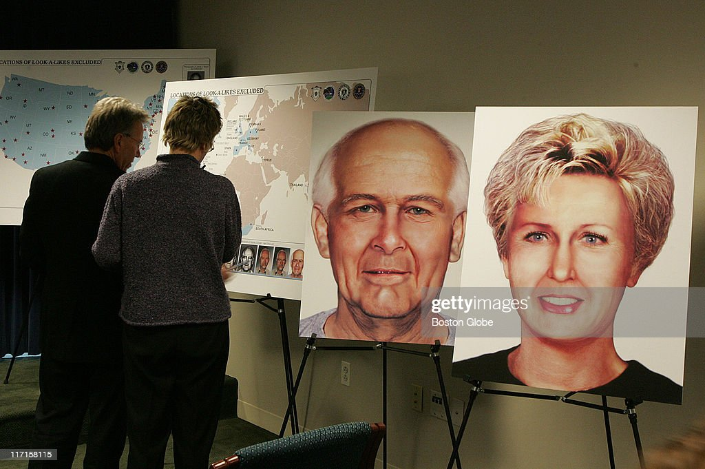 Prior to a press conference at the US District Court in Boston on Tuesday December 21 members of the media look at display boards detailing Whitey...