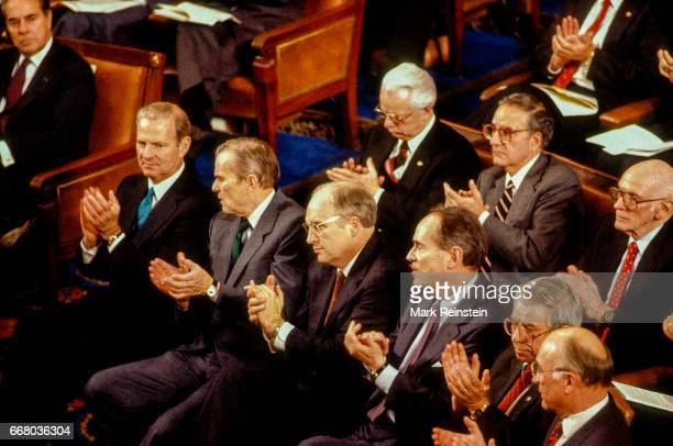 Prior to President George HW Bush's first State of the Union address before a joint session of Congress various politicians and cabinet members...