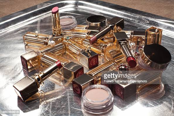 Prisca and Virginie CourtinClarins' style inspirations are photographed for for Madame Figaro on July 9 2014 in Paris France Lipsticks rings and...