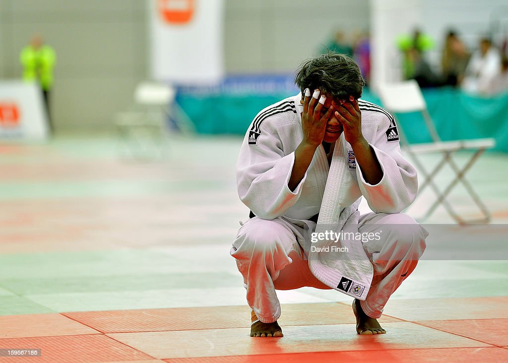 Prisca Awiti of Enfield JC (white), here unable to believe her narrow success, defeated Lubjana 'Lu Lu' Piovesana of Bishop Challoner to win the Cadet Girls Under 63kgs final and the gold medal during the British Cadet and Pre-Cadet Judo Championships on day 2, Sunday, January 13, 2013 at the English Institute of Sport, Sheffield, England, UK.
