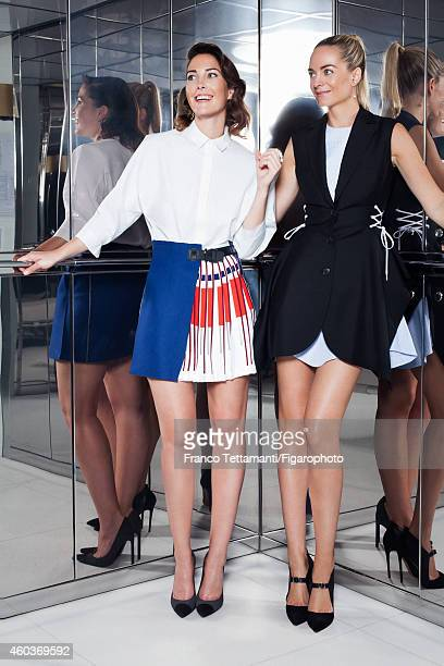 Prisca CourtinClarins and Virginie CourtinClarins are photographed for for Madame Figaro on July 9 2014 in Paris France Prisca Shirt skirt earrings...