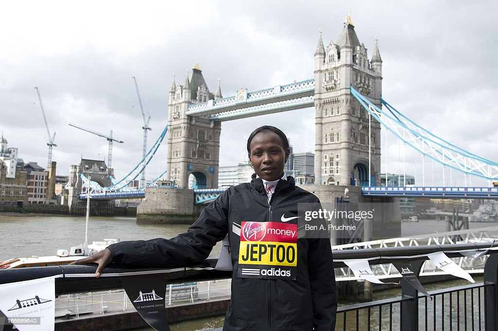 Priscah Jeptoo attends the photocall for International Women photocall ahead of The the London Marathon at The Tower Hotel on April 18, 2013 in London, England.