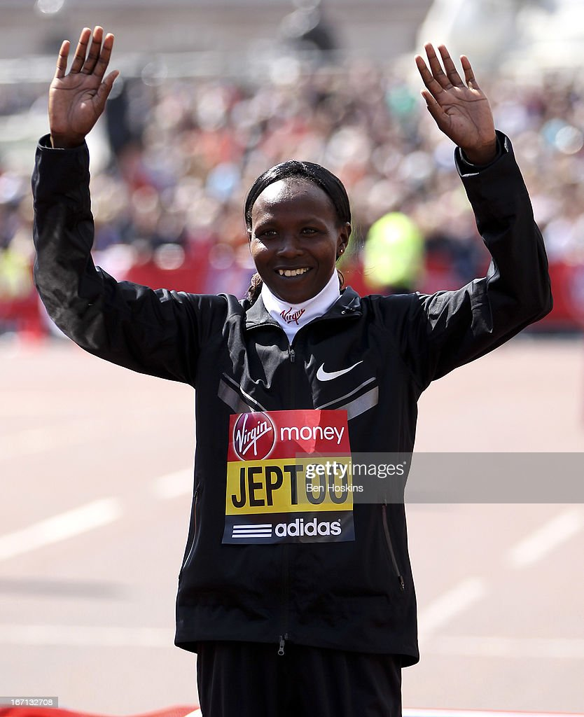 <a gi-track='captionPersonalityLinkClicked' href=/galleries/search?phrase=Priscah+Jeptoo&family=editorial&specificpeople=7640677 ng-click='$event.stopPropagation()'>Priscah Jeptoo</a> of Kenya celebrates after winning the Women's elite race during the Virgin London Marathon 2013 on April 21, 2013 in London, England.