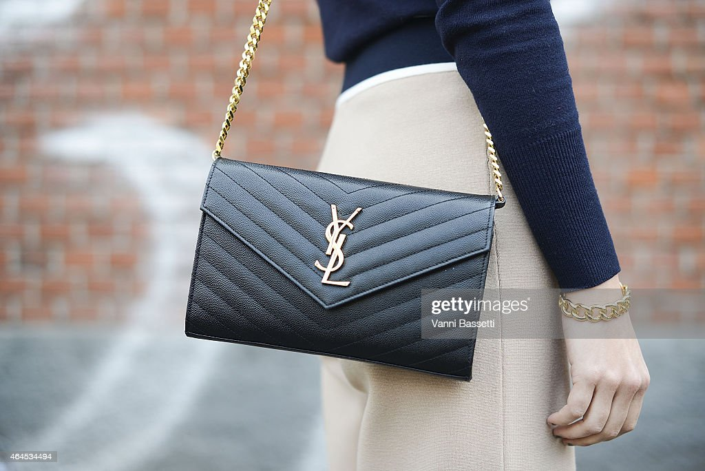 Priscilla Betancort poses wearing a Zara top ATM pants and YSL bag on February 26 2015 in Milan Italy
