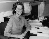 Priscilla Buchan Baroness Tweedsmuir pictured at her desk after being appointed as the new Minister of State at the Scottish Office June 30th 1970