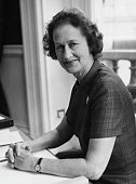Priscilla Buchan Baroness Tweedsmuir sitting at her desk in the Foreign Office after being appointed Minister of State London April 20th 1972