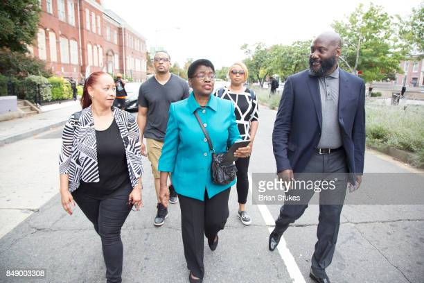 Priscilla Clarke Dr Barbara Williams and Christian Gregory attend Dick Gregory's Parade Of Life at The Legendary Howard Theatre on September 17 2017...