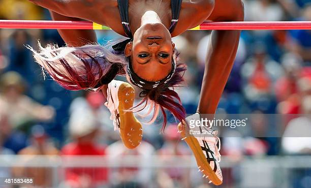 Priscilla Frederick of Antigua and Barbuda competes in the women's high jump final during Day 12 of the Toronto 2015 Pan Am Games on July 22 2015 in...