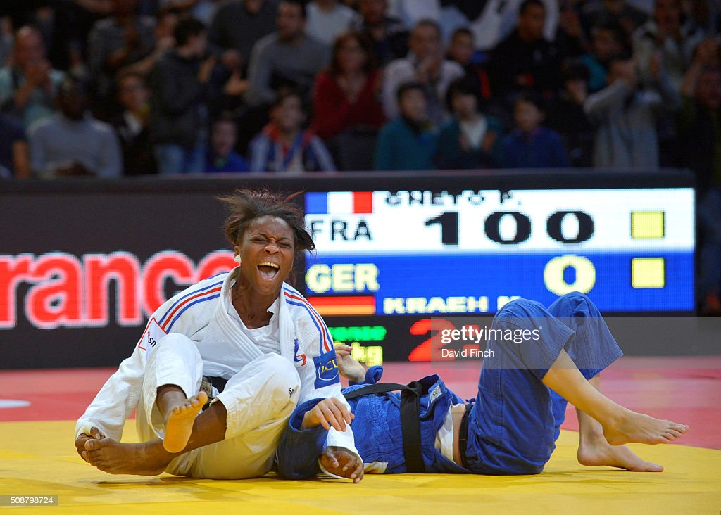 Priscilla Gneto of France screams with joy after holding Mareen Kraeh of Germany for an ippon to win the u52kg bronze medal during the 2016 Paris...