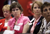 Priscilla Howard from left Crystal Hanna and Nancy Haunty all breast cancer patients listen to testimony during a Food and Drug Administration...