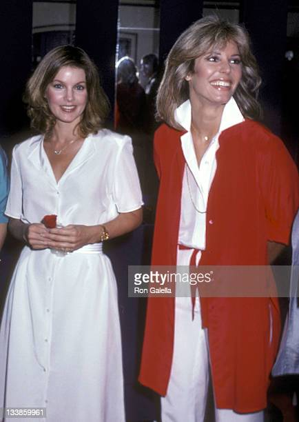 Priscilla Presley and model Marjorie Wallace attend the Wella Balsam's 100th Anniversary Celebration on May 20 1980 at the El Morocco in New York City