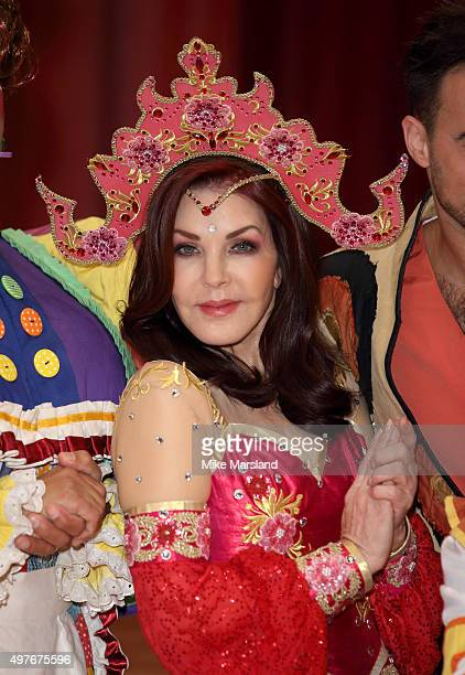 Priscilla Presley attends a photocall for 'Aladdin' at Milton Keynes Theatre on November 18 2015 in Milton Keynes England