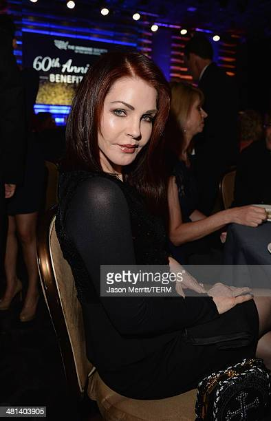 Priscilla Presley attends the Humane Society of The United States 60th Anniversary Gala at The Beverly Hilton Hotel on March 29 2014 in Beverly Hills...