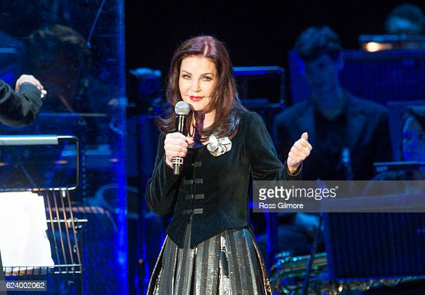 Priscilla Presley introduces Elvis in concert with the Royal Philharmonic Orchestra at the SSE Hydro on November 17 2016 in Glasgow United Kingdom