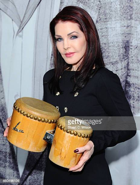 Priscilla Presley visits the 'Elvis at the 02' exhibition at 02 Arena on December 15 2014 in London England