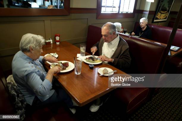 Priscilla Sheldon left and her husband Edward Sheldon right have lunch at Jimmy's Steer House in Arlington MA on Jun 9 2017 They have been having...